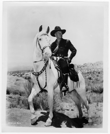 Boyd as Hopalong Cassidy on his horse, Topper